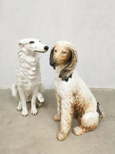 Vintage Italian ceramic dog statue sculpture porseleinen hond