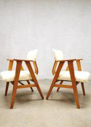Vintage midcentury Dutch design arm chairs 1950s stoelen