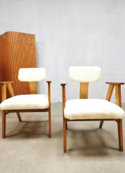 Cees Braakman Pastoe style vintage Dutch design armchairs lounge stoelen