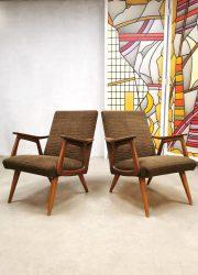 bestwelhip vintage Dutch design Webe Louis van Teeffelen style arm chair lounge fauteuils stoelen teak