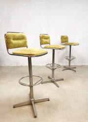 barkruk Vintage design Space Age bar stools barkrukken 'green velvet'