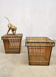Set Dutch vintage rattan & steel storage basket mand Dirk van Sliedregt Rohé