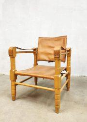 vintage tuigleren stoelen arm chairs Kaare Klint style