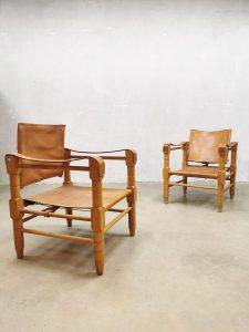 Vintage midcentury design leather safari chairs armchair leren safari stoel