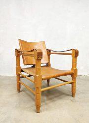 vintage midcentury design leather safari chair stoel