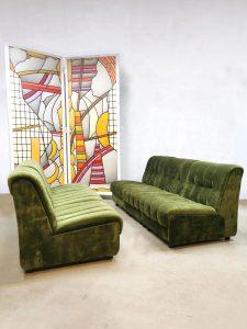 Vintage modular sofa modulaire lounge bank green velvet 'Bohemian'
