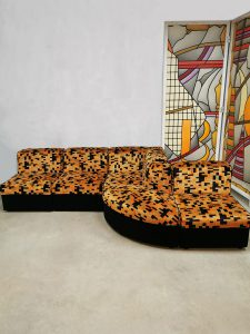 Vintage design velvet modular sofa 'Color blocking' lounge bank