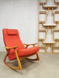 Vintage midcentury Swedish design rocking chair Zweedse schommelstoel