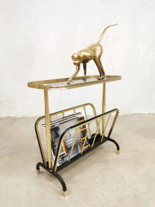 Vintage brass side table magazine holder lectuurbak MB Italy