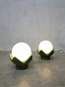 Vintage ceramic table lamp lily tafellamp lelie