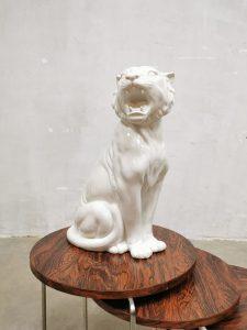 Vintage Italian design ceramic white tiger witte tijger V. Bassano