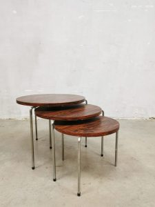 Vintage palissander round nesting tables bijzettafeltjes 'Tripot'