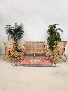 Vintage rattan bamboo sofa & chairs rotan bamboe bank & fauteuils Rohe