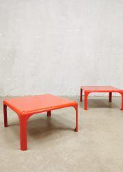 Midcentury stackable side tables bijzettafels Vico Magistretti voor Artemide Italy