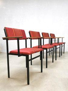 Vintage Dutch design dining chairs Martin Visser style eetkamerstoelen