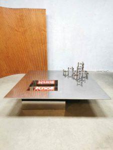 Vintage Italian design chrome coffee table salontafel 'minimalism'