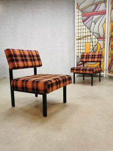 Vintage Dutch design easy chairs fauteuils 'coloured check'