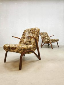 Midcentury modern arm chairs lounge fauteuils 'hairpin legs'
