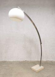 Italian space age vintage design lamp lighting style of Guzzini Arc marble