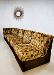 retro design velvet couch sofa velvet velours green orange