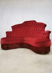 hoekbank vintage velours velvet red fringe