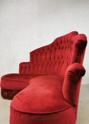 vintage french parisienne design retro couch fringe velvet red moulin rouge lounge bank