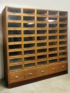 Vintage haberdashery chest of drawers display cabinet apothekerskast
