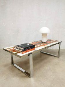 Vintage design ceramic tile table coffee table salontafel tegeltafel Denisco